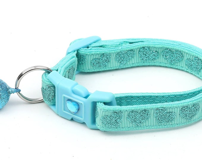 Valentines Day Cat Collar - Aqua Glitter Hearts - Kitten or Large Size