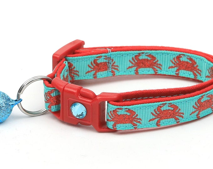 Beach Cat Collar - Crabs on Aqua - Kitten or Large Size - Tropical - Nautical