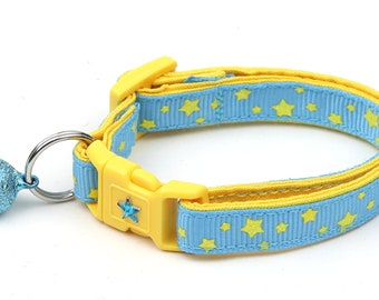 Star Cat Collar - Yellow Stars on Blue - Small Cat / Kitten Size or Large Size B47D145
