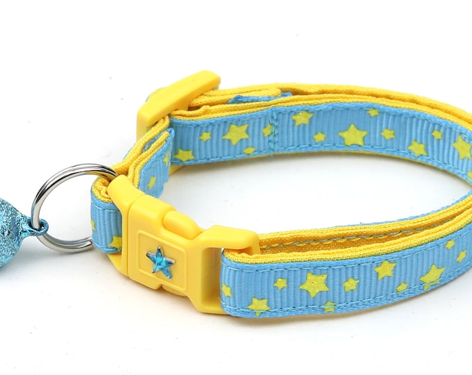 Star Cat Collar - Yellow Stars on Blue - Small Cat / Kitten Size or Large Size