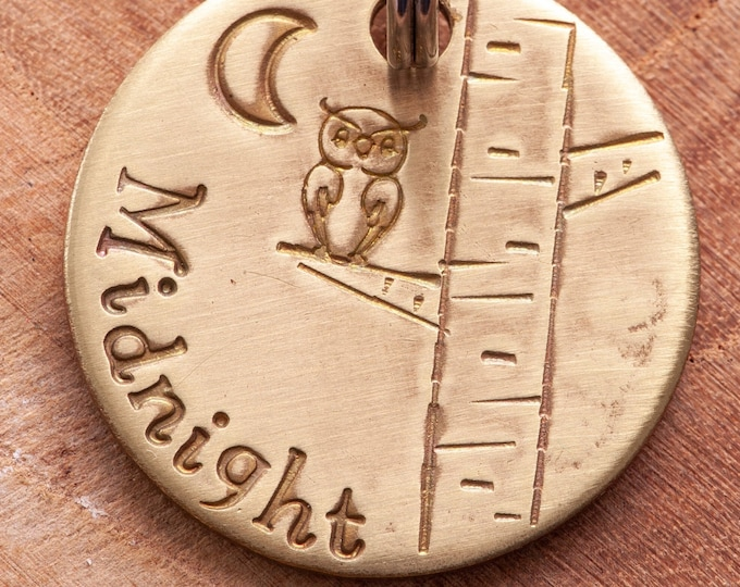"Owl Pet ID Tag - Small Owl pet tag - 7/8"" brass Pet ID Tag - Hand Stamped Cat ID Tag -Dog tag - tree pet tag - Brass (gold color) tag"