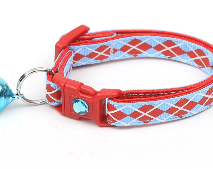 Argyle Cat Collar - Red Argyle on Light Blue - Small Cat / Kitten Size or Large Size