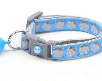 Hippo Cat Collar - Hippopotamus on Blue - Small Cat / Kitten Size or Large Size B81D16