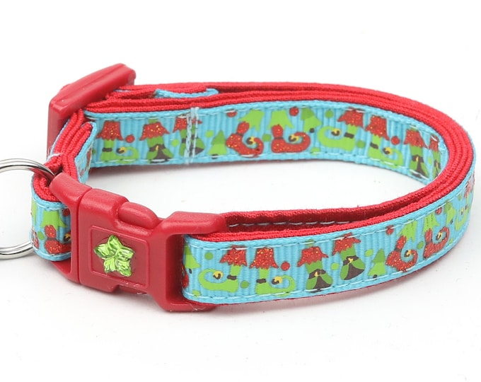 Christmas Cat Collar - Jolly Elf Boots on Blue - Kitten or Large Size