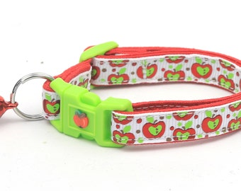 Fruit Cat Collar - Colorful Red and Green Apples on White - Small Cat / Kitten Size or Large Size D25