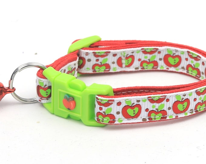 Fruit Cat Collar - Colorful Red and Green Apples on White - Small Cat / Kitten Size or Large Size