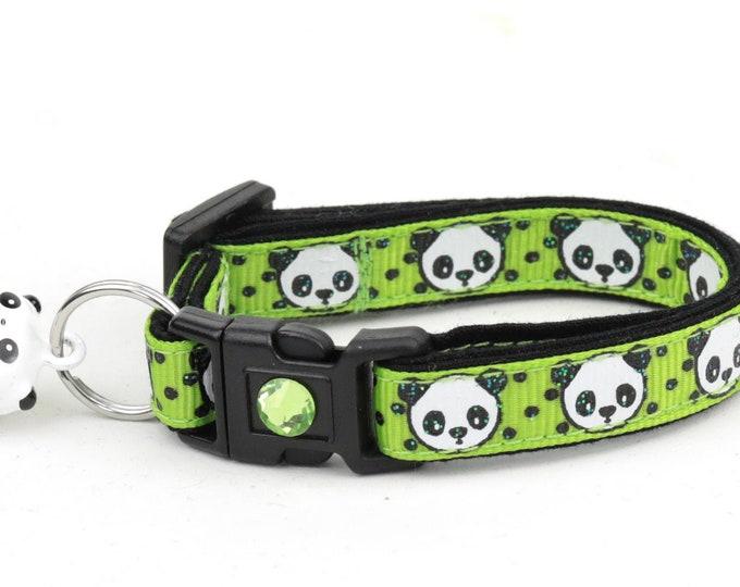 Panda Cat Collar - Panda Bears on Green - Small Cat / Kitten Size or Large Size
