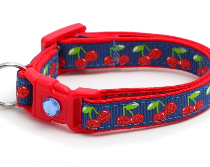 Cherry Cat Collar - Cherries on Navy - Small Cat / Kitten Size or Large Size B126D19