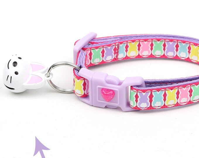 Easter Cat Collar - Easter Bunnies on Bright Pink- Kitten or Large Size