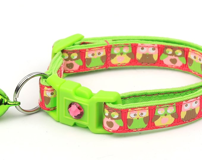 Owl Cat Collar - Woodland Owls on Bright Pink - Small Cat / Kitten Size or Large Size