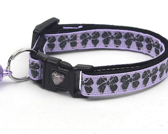 Bow Cat Collar - Black Glitter Bows on Purple - Small Cat / Kitten Size or Large Size B62D133