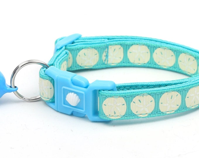 Beach Cat Collar - Sand Dollars on Aqua - Kitten or Large Size - Nautical