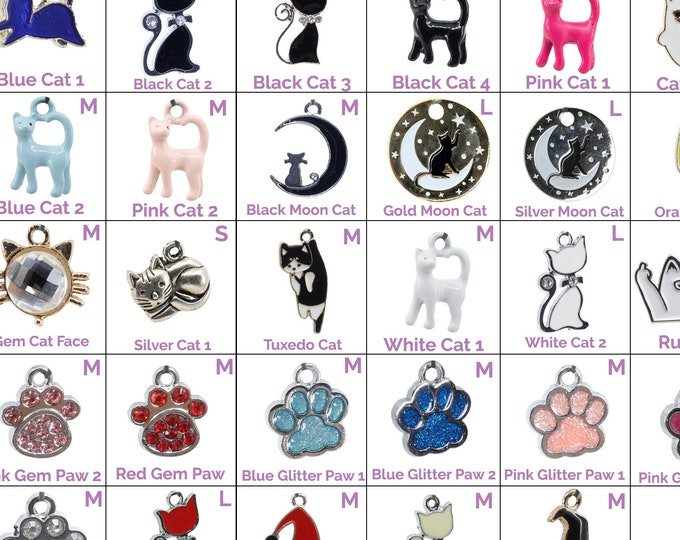 Collar Charms - Cat & Paw Charms  - Extra Charms for Cat Collars - Bling - Jewelry