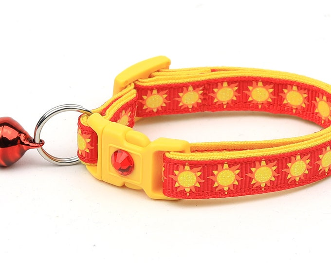 Sun Cat Collar - Suns on Red - Breakaway Cat Collar - Kitten or Large size