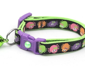Spider Cat Collar - Cute Colorful Spiders- Small Cat / Kitten or Large Cat Collar - Halloween