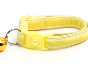 Soft Velvet Cat Collar - Limoncello Yellow - Safety Breakaway - Kitten or Large Size B69D180