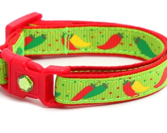 Pepper Cat Collar - Spicy Peppers on Green- Small Cat / Kitten Size or Large Size B88D26
