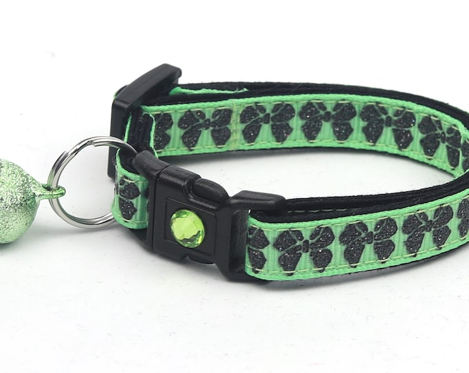 Bow Cat Collar - Black Glitter Bows on Green - Small Cat / Kitten Size or Large Size