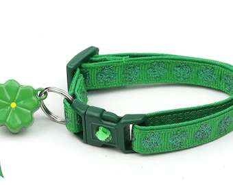 St. Patrick's Day Cat Collar - Glitter Shamrocks on Dark Green - Small Cat / Kitten or Large Cat Collar D50