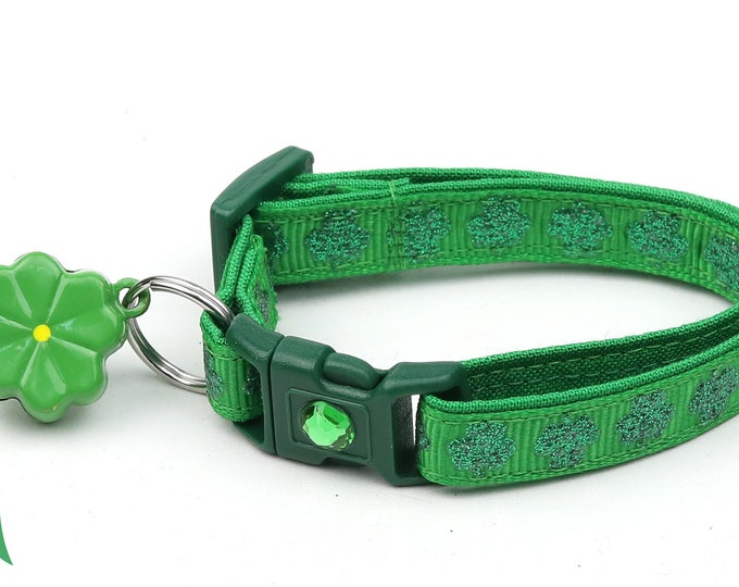 St. Patrick's Day Cat Collar - Glitter Shamrocks on Dark Green - Small Cat / Kitten or Large Cat Collar