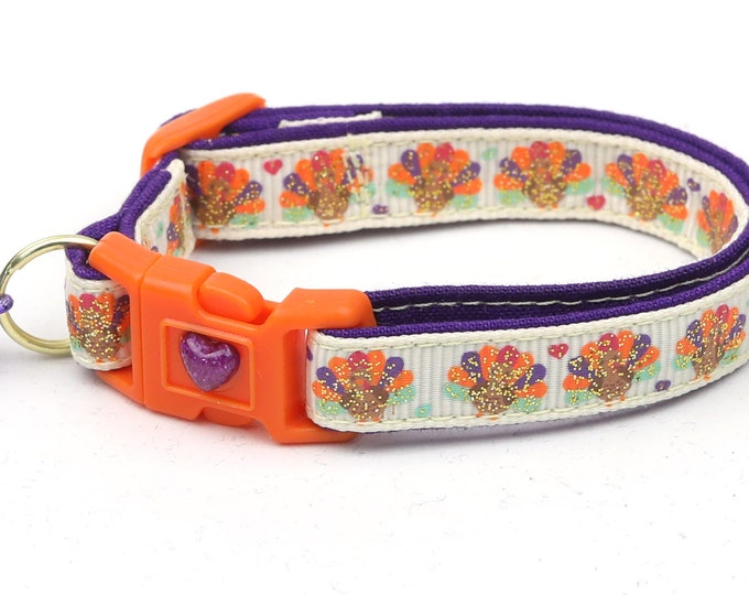 Thanksgiving Cat Collar - Glittery Turkeys and Hearts -Small Cat / Kitten or Large Size Cat Collar