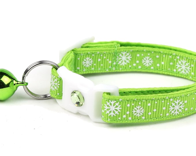 Snowflake Cat Collar -Snow Flurries on Bright Green - Breakaway Cat Collar - Kitten or Large Size