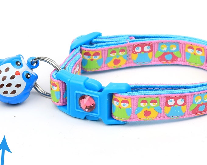 Owl Cat Collar - Bright Owls on Pink - Small Cat / Kitten Size or Large Size
