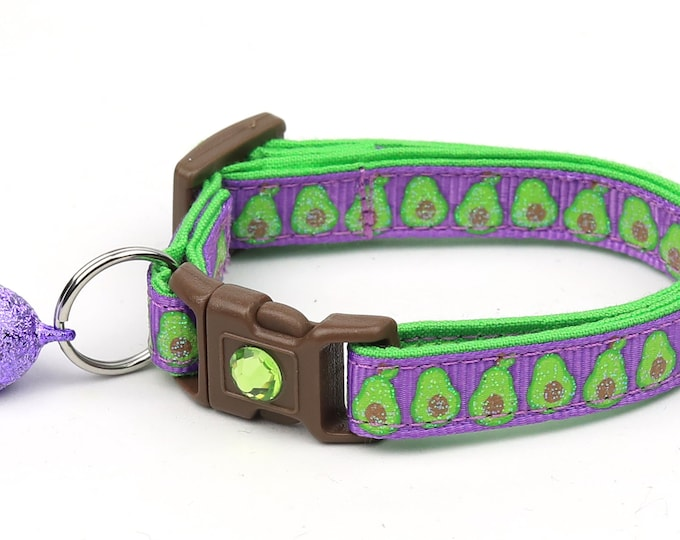 Avocado Cat Collar - Avocados on Purple - Small Cat / Kitten Size or Large Size