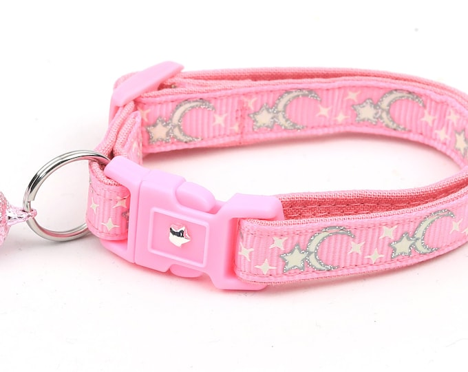 Moon Cat Collar - Silver Moons and Stars on Pink - Breakaway Cat Collar - Kitten or Large size - Glow in the Dark