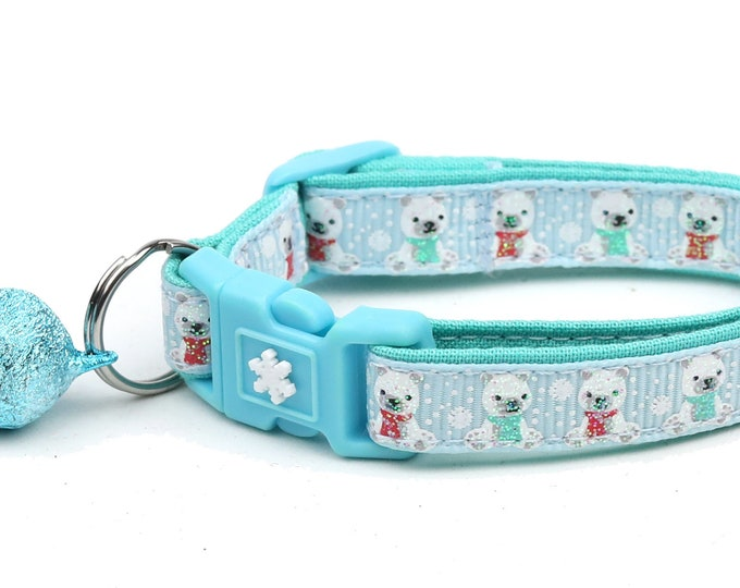 Polar Bear Cat Collar - Polar Bears on Light Blue - Breakaway Cat Collar - Kitten or Large Size