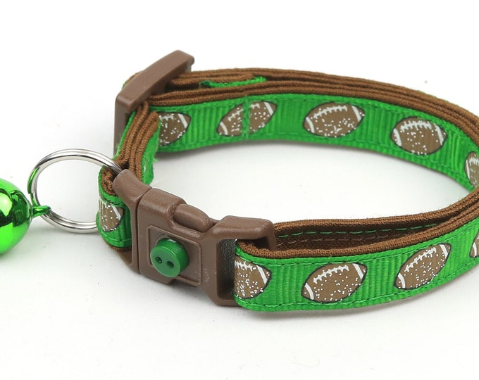 Football Cat Collar - Footballs on Green - Small Cat / Kitten Size or Large Size