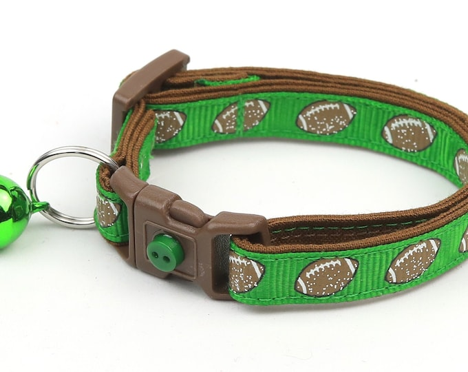 Football Cat Collar - Footballs on Green - Small Cat / Kitten Size or Large Size B11D138