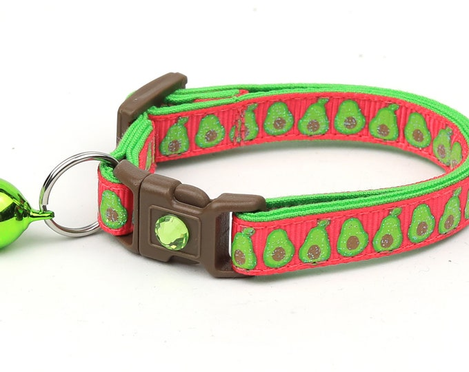 Avocado Cat Collar - Avocados on Hot Pink - Small Cat / Kitten Size or Large Size
