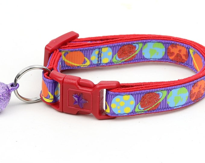 Space Cat Collar - Planets on Purple - Breakaway Cat Collar - Kitten or Large size