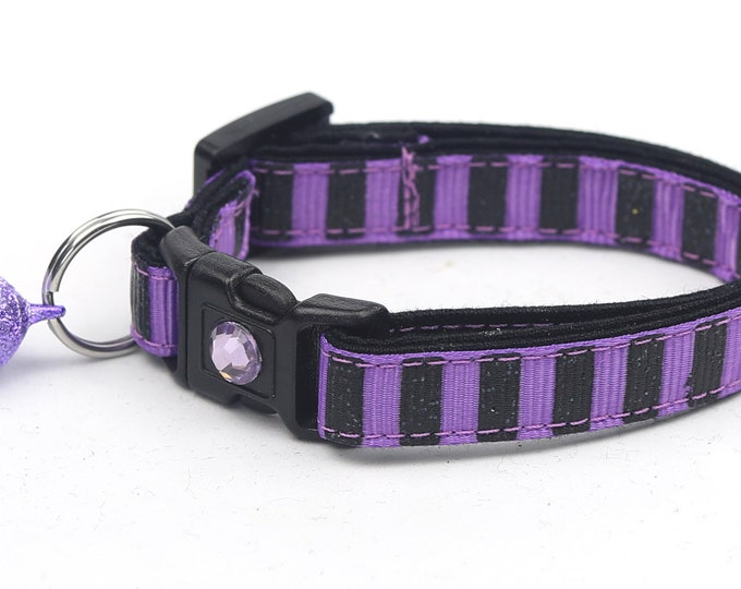 Black Glitter Cat Collar - Bold Black Glitter Stripes on Purple - Kitten or Large Size