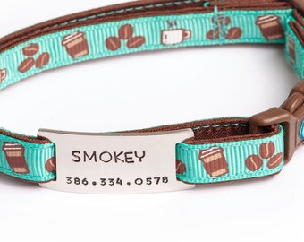 """On Collar Cat ID tag - Tag for 3/8"""" Collar - Hand Stamped pet ID Tag - Collar Tag - tag for Pugs2Persians Collars"""