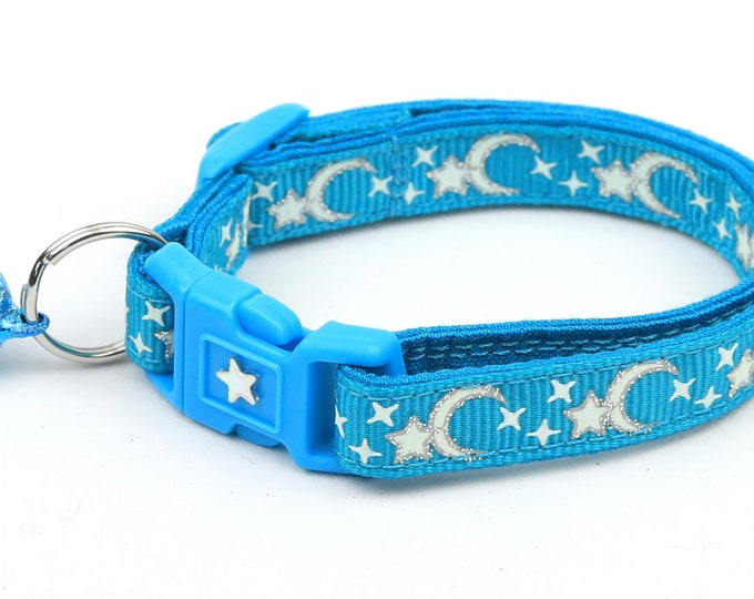 Moon Cat Collar - Silver Moons and Stars on Turquoise - Breakaway Cat Collar - Kitten or Large size - Glow in the Dark