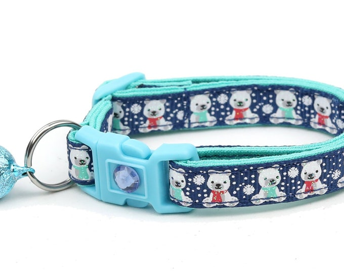 Polar Bear Cat Collar - Polar Bears on Navy - Breakaway Cat Collar - Kitten or Large Size