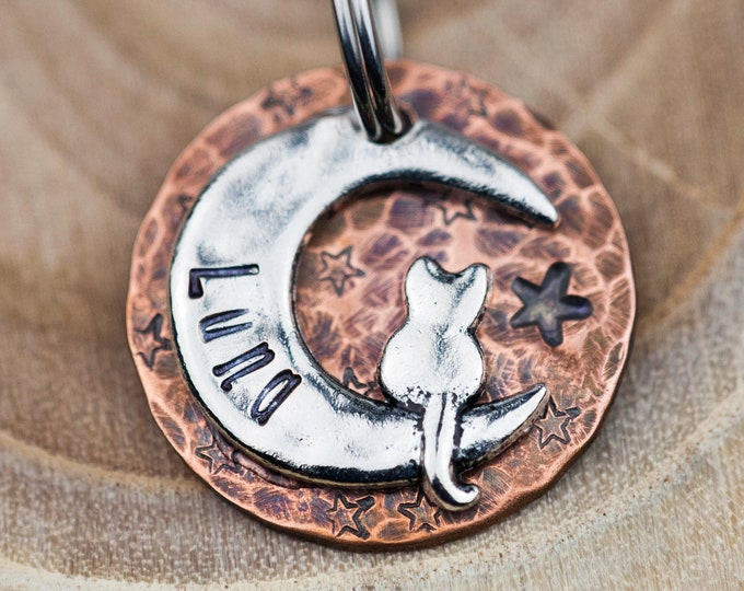 """Custom Cat Tag - Small Cat on the Moon (Silver-tone) - 7/8"""" Copper Pet ID Tag - Hand Stamped Cat ID Tag"""