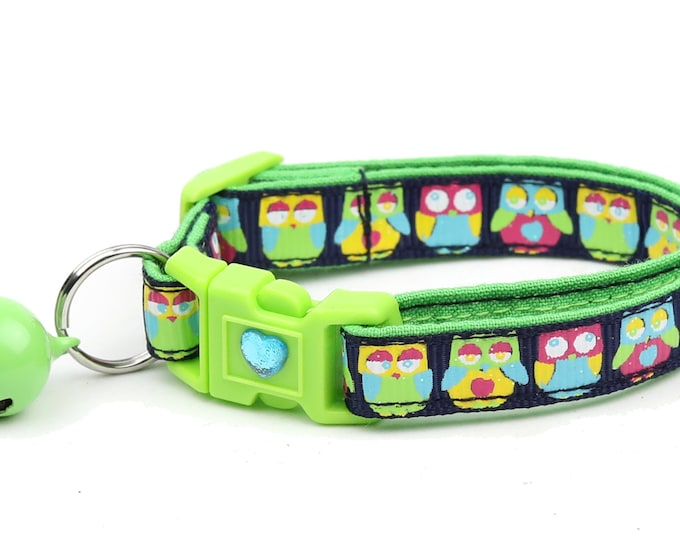 Owl Cat Collar - Bright Owls on Navy  - Small Cat / Kitten Size or Large Size