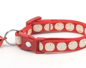 Beach Cat Collar - Sand Dollars on Red - Kitten or Large Size - Nautical