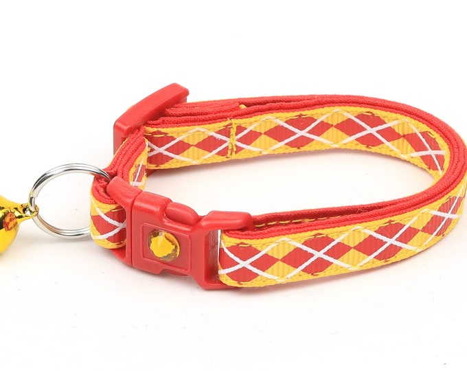 Argyle Cat Collar - Red Argyle on Yellow - Small Cat / Kitten Size or Large Size