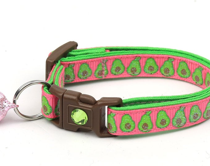 Avocado Cat Collar - Avocados on Soft Pink - Small Cat / Kitten Size or Large Size
