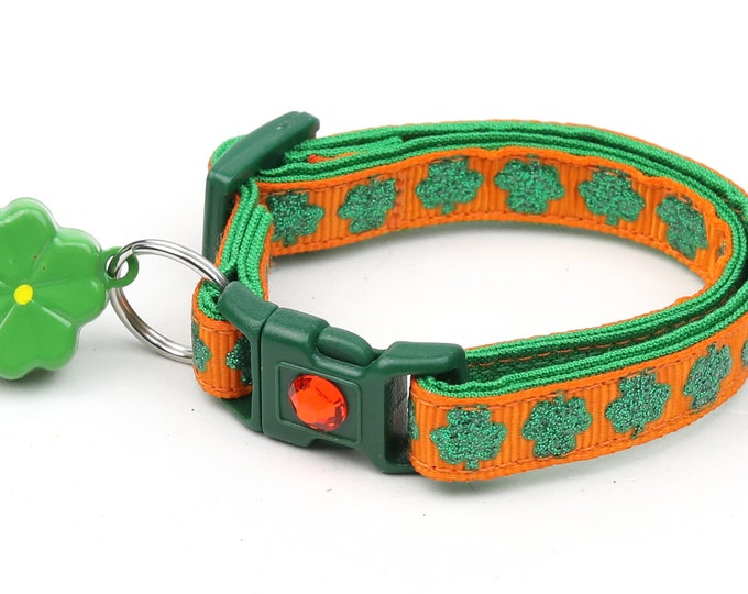 St. Patrick's Day Cat Collar - Glitter Shamrocks on Orange - Small Cat / Kitten or Large Cat Collar