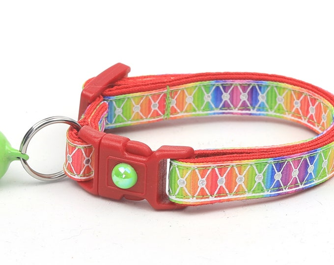 Rainbow Cat Collar - Diamond Mesh over Rainbow- Kitten or Large Size
