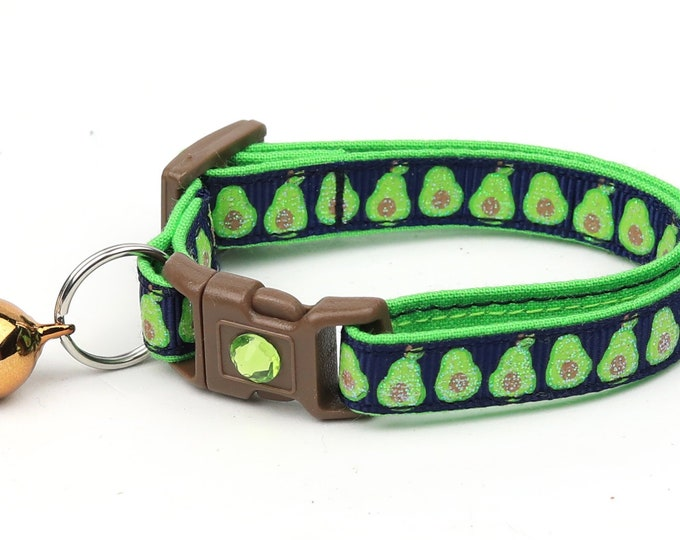 Avocado Cat Collar - Avocados on Navy Blue - Small Cat / Kitten Size or Large Size