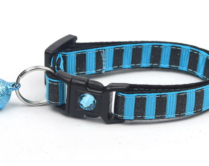 Black Glitter Cat Collar - Bold Black Glitter Stripes on Blue - Kitten or Large Size