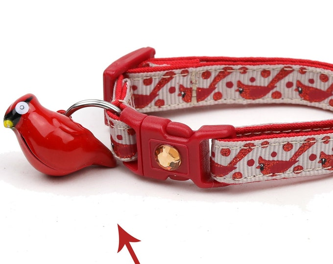 Bird Cat Collar - Red Cardinals on Taupe - Safety Breakaway - Small Cat / Kitten Size or Large Size