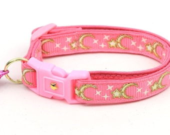 Moon Cat Collar - Gold Moons and Stars on Bright Pink - Breakaway Cat Collar - Kitten or Large size - Glow in the Dark