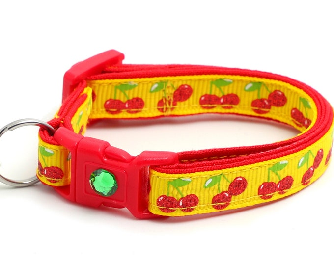 Cherry Cat Collar - Cherries on Yellow - Small Cat / Kitten Size or Large Size B124D19